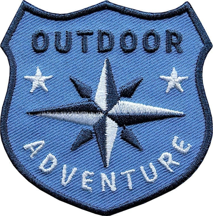 Outdoor Patch Bügelbild Aufnäher mit Kompass Blau